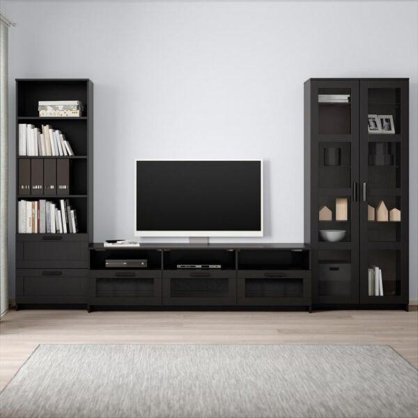БРИМНЭС Шкаф для ТВ, комбин/стеклян дверцы черный 320x41x190 см - Артикул: 792.782.31