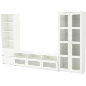 БРИМНЭС Шкаф для ТВ, комбин/стеклян дверцы белый 320x41x190 см - Артикул: 392.782.33
