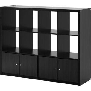 КАЛЛАКС Стеллаж с 4 вставками черно-коричневый 147x112 см - Артикул: 692.782.55
