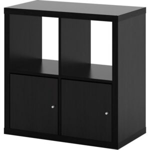 КАЛЛАКС Стеллаж с дверцами черно-коричневый 77x77 см - Артикул: 392.782.71