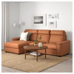 ЛИДГУЛЬТ 3-местный диван, с козеткой/Гранн/Бумстад золотисто-коричневый - Артикул: 392.571.41