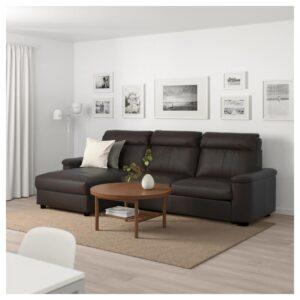 ЛИДГУЛЬТ 3-местный диван-кровать, с козеткой/Гранн/Бумстад темно-коричневый - Артикул: 692.660.78