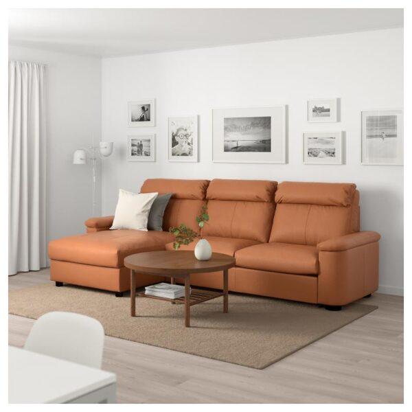 ЛИДГУЛЬТ 3-местный диван-кровать, с козеткой/Гранн/Бумстад золотисто-коричневый - Артикул: 692.660.83