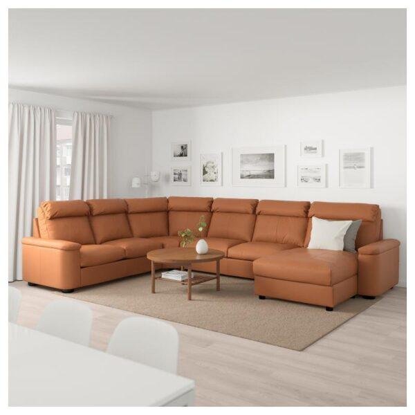 ЛИДГУЛЬТ Угловой диван-кровать, 6-местный, с козеткой/Гранн/Бумстад золотисто-коричневый - Артикул: 692.776.23