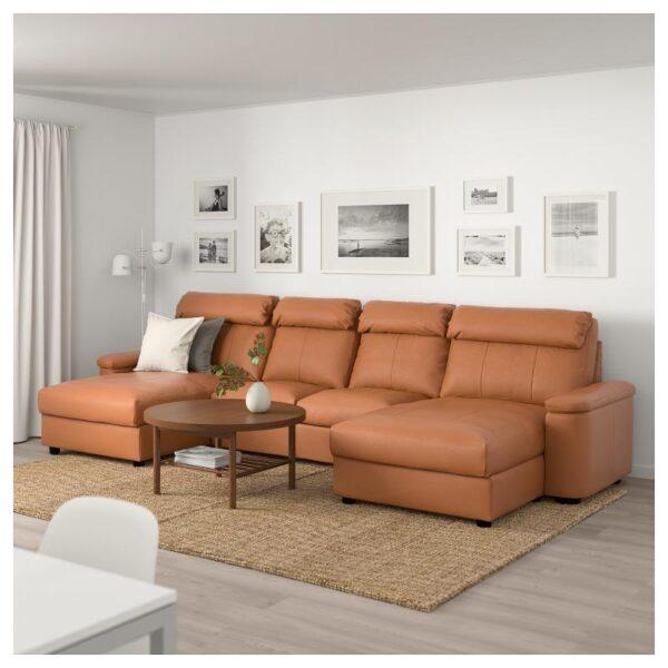ЛИДГУЛЬТ 4-местный диван, с козеткой/Гранн/Бумстад золотисто-коричневый - Артикул: 592.573.57