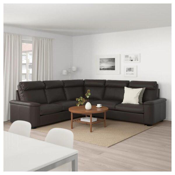 ЛИДГУЛЬТ Угловой диван-кровать, 5-местный, Гранн/Бумстад темно-коричневый - Артикул: 692.661.82