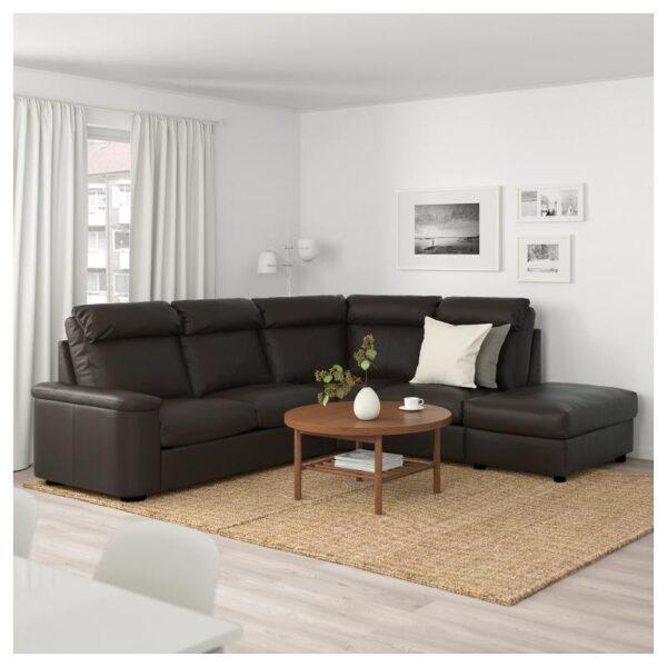 ЛИДГУЛЬТ 5-местный угловой диван, с открытым торцом/Гранн/Бумстад темно-коричневый - Артикул: 992.760.28