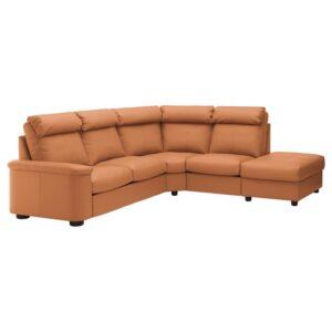 ЛИДГУЛЬТ 5-местный угловой диван, с открытым торцом/Гранн/Бумстад золотисто-коричневый - Артикул: 992.760.33
