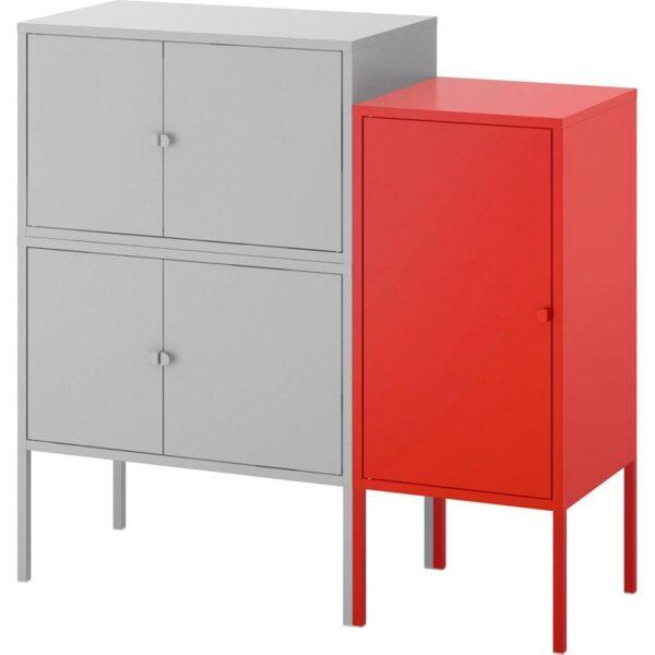 ЛИКСГУЛЬТ Комбинация шкафов серый/красный 95x35x92 см - Артикул: 192.791.82