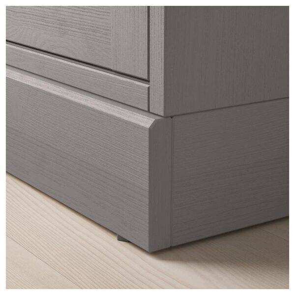 ХАВСТА Шкаф-витрина с цоколем серый/прозрачное стекло 81x134x37 см - Артикул: 892.751.09