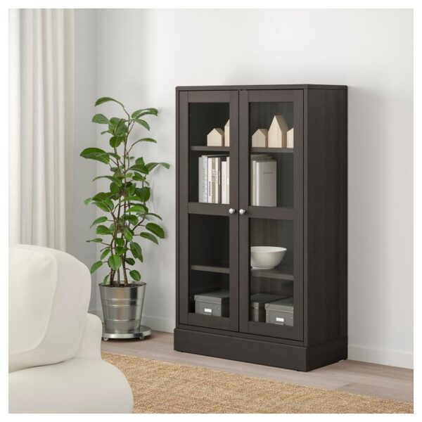 ХАВСТА Шкаф-витрина с цоколем темно-коричневый, прозрачное стекло 81x134x37 см - Артикул: 492.751.06