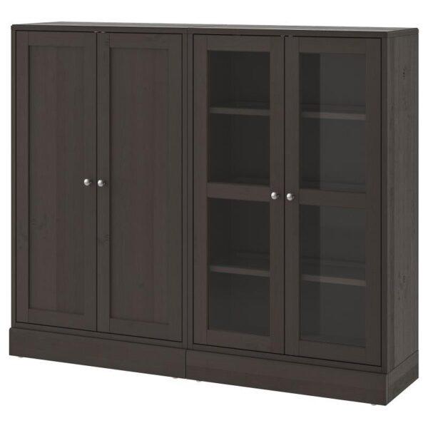 ХАВСТА Комбинация для хранения с сткл двр темно-коричневый 162x134x37 см - Артикул: 492.660.55