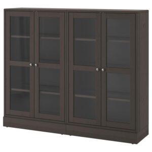ХАВСТА Комбинация д/хранения+стекл дверц темно-коричневый 162x134x37 см - Артикул: 392.659.52