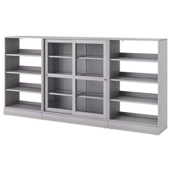 ХАВСТА Комбинация с раздвижными дверьми серый 283x134x37 см - Артикул: 792.660.68