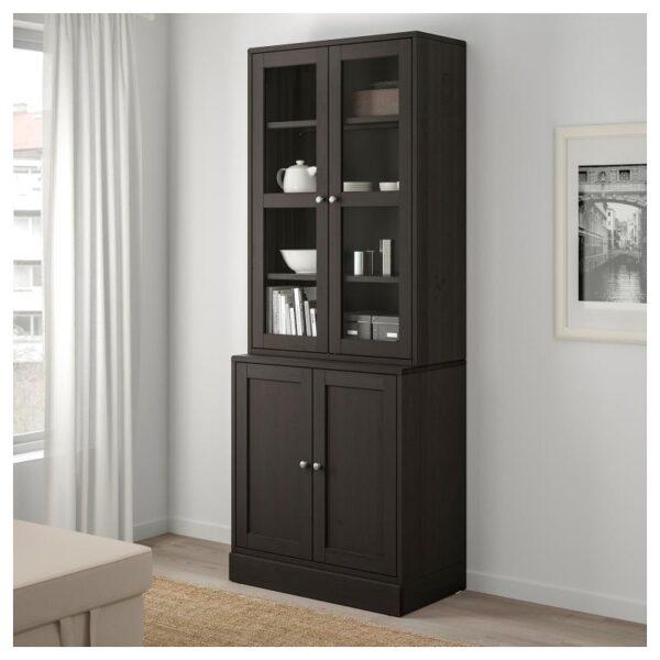 ХАВСТА Комбинация для хранения с сткл двр темно-коричневый 81x212x47 см - Артикул: 092.659.77