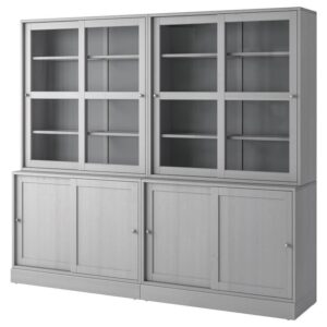 ХАВСТА Комбинация с раздвижными дверьми серый 242x212x47 см - Артикул: 792.659.07