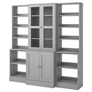 ХАВСТА Комбинация д/хранения+стекл дверц серый 203x212x47 см - Артикул: 992.659.25
