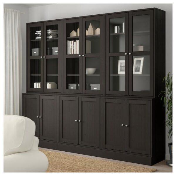 ХАВСТА Комбинация для хранения с сткл двр темно-коричневый 243x212x47 см - Артикул: 192.659.67