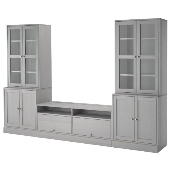 ХАВСТА Шкаф для ТВ, комбин/стеклян дверцы серый 322x212x47 см - Артикул: 392.658.29