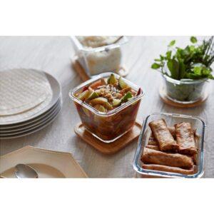 ИКЕА/365+ Контейнер для продуктов с крышкой четырехугольной формы стекло/стекло бамбук 1.2 л | Артикул: 892.691.13
