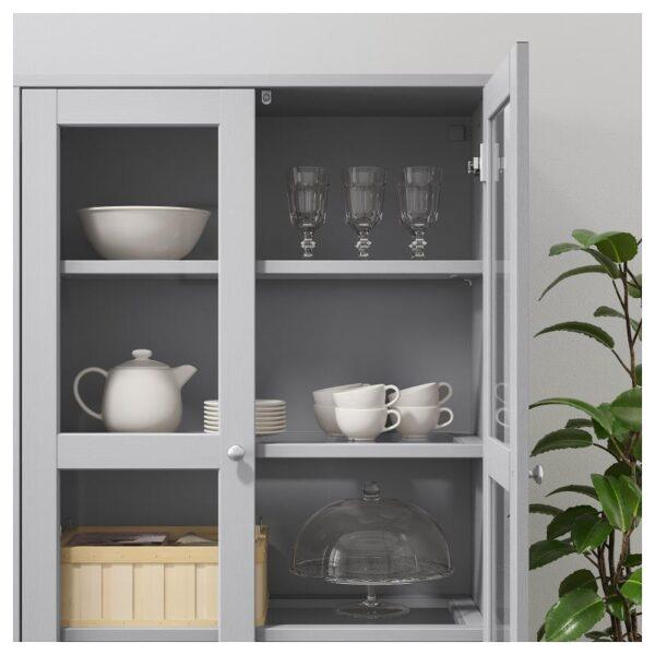 ХАВСТА Комбинация д/хранения+стекл дверц серый 162x134x37 см - Артикул: 892.659.64