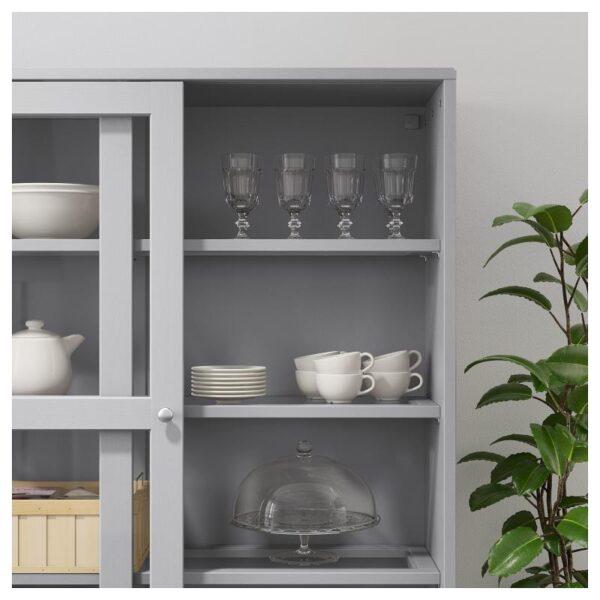 ХАВСТА Шкаф-витрина с цоколем серый/прозрачное стекло 121x134x37 см - Артикул: 992.751.18