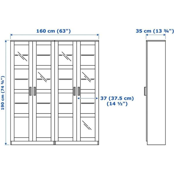 БРИМНЭС Комбинация д/хранения+стекл дверц черный 160x35x190 см - Артикул: 692.782.36