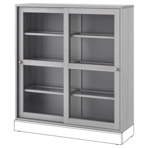 ХАВСТА Шкаф-витрина серый 121x123x35 см - Артикул: 304.185.77