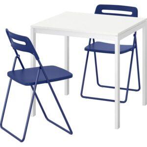 МЕЛЬТОРП / НИССЕ Стол и 2 складных стула белый/темный сине-сиреневый 75 см - Артикул: 492.807.06