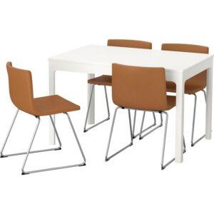 ЭКЕДАЛЕН / БЕРНГАРД Стол и 4 стула белый/Мьюк золотисто-коричневый 120/180 см - Артикул: 092.807.70