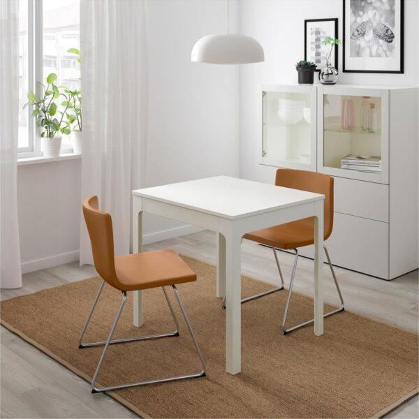 ЭКЕДАЛЕН / БЕРНГАРД Стол и 2 стула белый/Мьюк золотисто-коричневый 80/120 см - Артикул: 592.806.97
