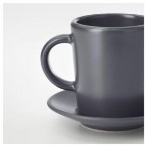 ДИНЕРА Чашка для кофе эспрессо с блюдцем, темно-серый 9 сл - Артикул: 404.296.41