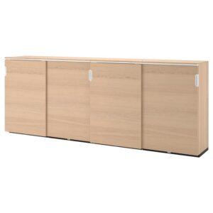 ГАЛАНТ Комбинация для хран с раздв дверц дубовый шпон, беленый 320x120 см - Артикул: 892.857.78