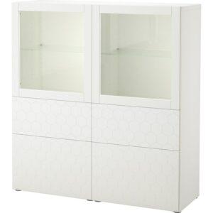 БЕСТО Комбинация д/хранения+стекл дверц белый/вассвикен белый прозрачное стекло 120x40x128 см - Артикул: 592.829.22