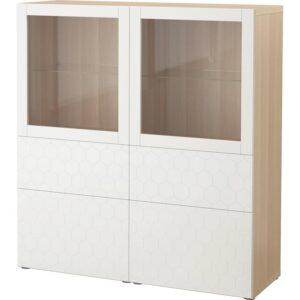 БЕСТО Комбинация д/хранения+стекл дверц под беленый дуб/вассвикен белый прозрачное стекло 120x40x128 см - Артикул: 292.829.33