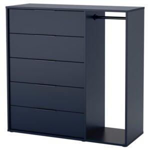 НОРДМЕЛА Комод с платяной штангой, черно-синий 120x115 см - Артикул: 604.216.58