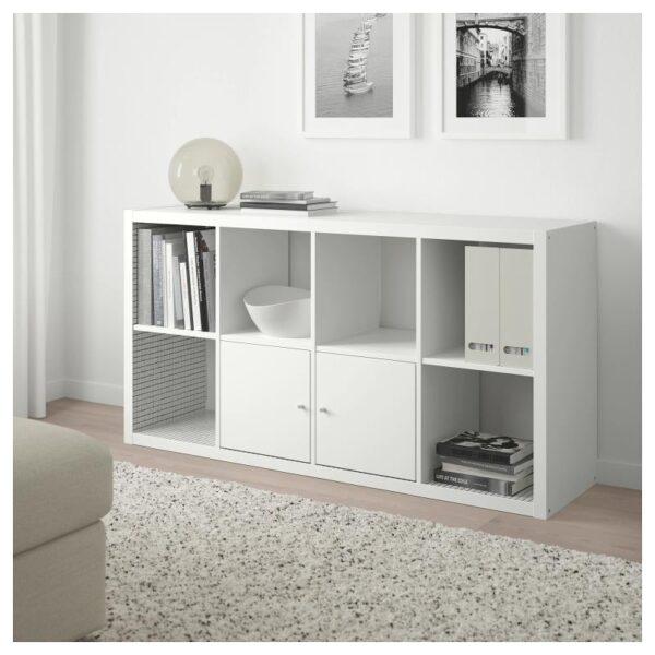 КАЛЛАКС Стеллаж, белый/клетчатый орнамент 77x147 см - Артикул: 704.284.47