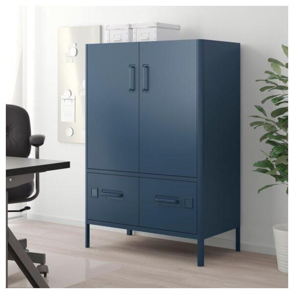 ИДОСЕН Шкаф с дверцами и ящиками синий 80x47x119 см - Артикул: 003.979.44