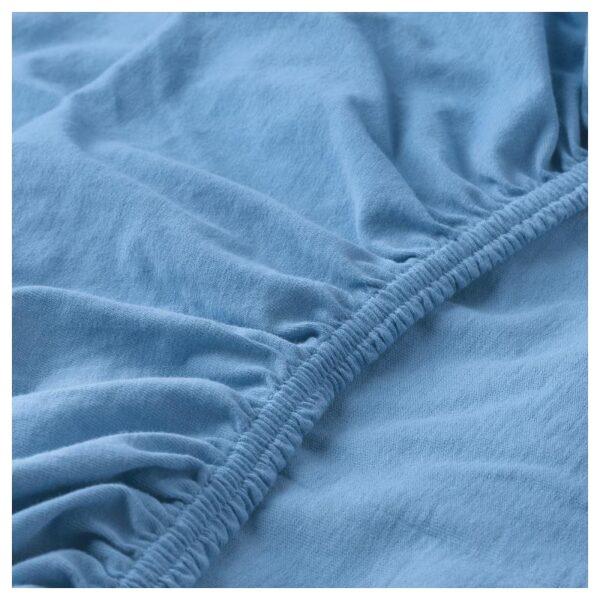 ЛЕН Простыня натяжн для кроватки, голубой 60x120 см - Артикул: 504.271.04