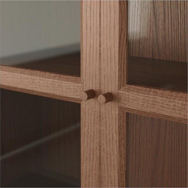 БИЛЛИ / ОКСБЕРГ Стеллаж/панельные/стеклянные двери коричневый ясеневый шпон/стекло 160x202x30 см - Артикул: 192.807.36
