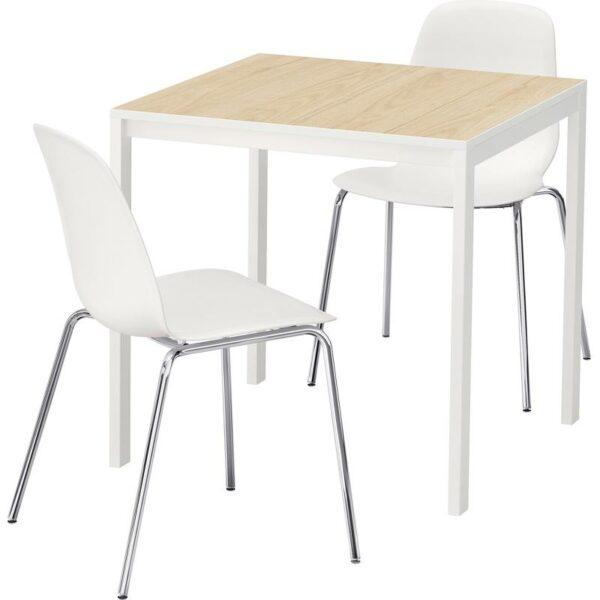 МЕЛЬТОРП / ЛЕЙФ-АРНЕ Стол и 2 стула ясень белый/Брур-Инге хромированный 75x75 см - Артикул: 192.875.73