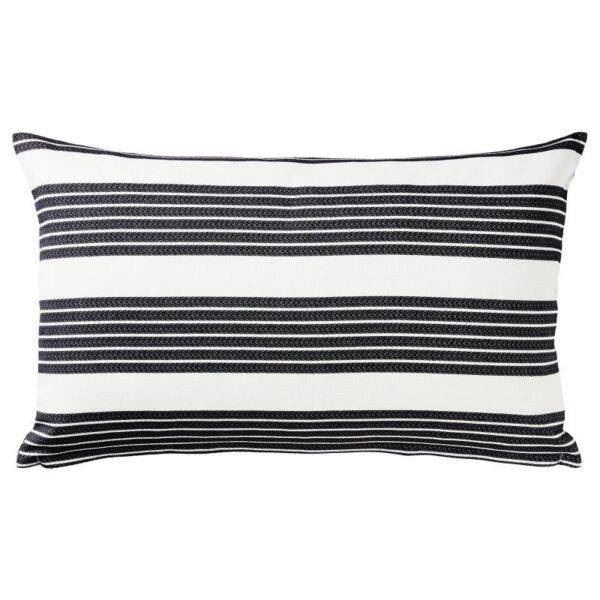 МЕТТАЛИСЕ Чехол на подушку, белый/темно-серый 40x65 см - Артикул: 504.326.62