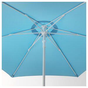 ХЁГЁН Зонт от солнца с опорой, голубой/Гритэ темно-серый 270 см - Артикул: 592.913.99