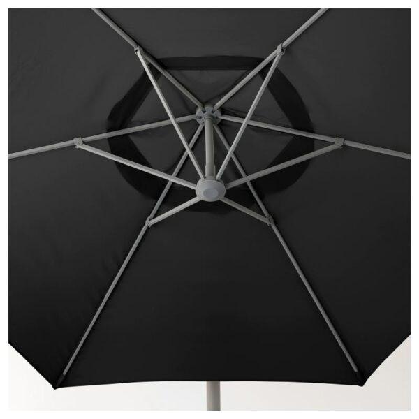 ОКСНЭ / ЛИНДЭЙА Зонт от солнца с опорой, черный/Сварто темно-серый 300 см - Артикул: 792.914.64