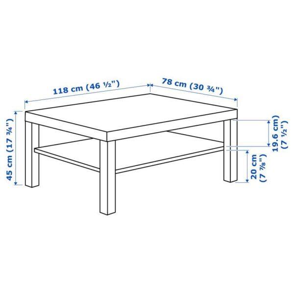ЛАКК Журнальный стол, под беленый дуб 118x78 см - Артикул: 004.315.37