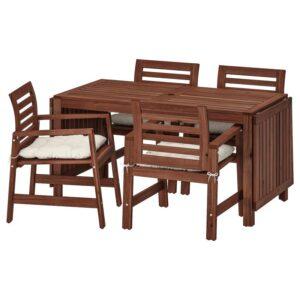 ЭПЛАРО Стол+4 кресла, д/сада, коричневая морилка/Куддарна бежевый - Артикул: 392.894.15