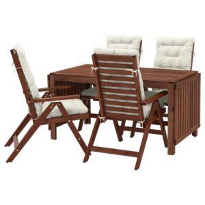 ЭПЛАРО Стол+4 кресла, д/сада, коричневая морилка/Куддарна бежевый - Артикул: 492.897.02