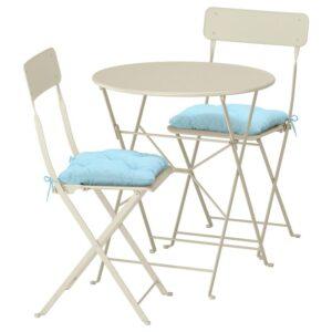 САЛЬТХОЛЬМЕН Стол+2 складных стула,д/сада, бежевый/Куддарна синий - Артикул: 592.862.94