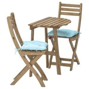 АСКХОЛЬМЕН Стол+2 складных стула, д/сада, серо-коричневая морилка/Куддарна синий голубой - Артикул: 192.860.12