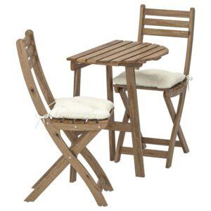 АСКХОЛЬМЕН Стол+2 складных стула, д/сада, серо-коричневая морилка/Куддарна бежевый - Артикул: 392.860.06